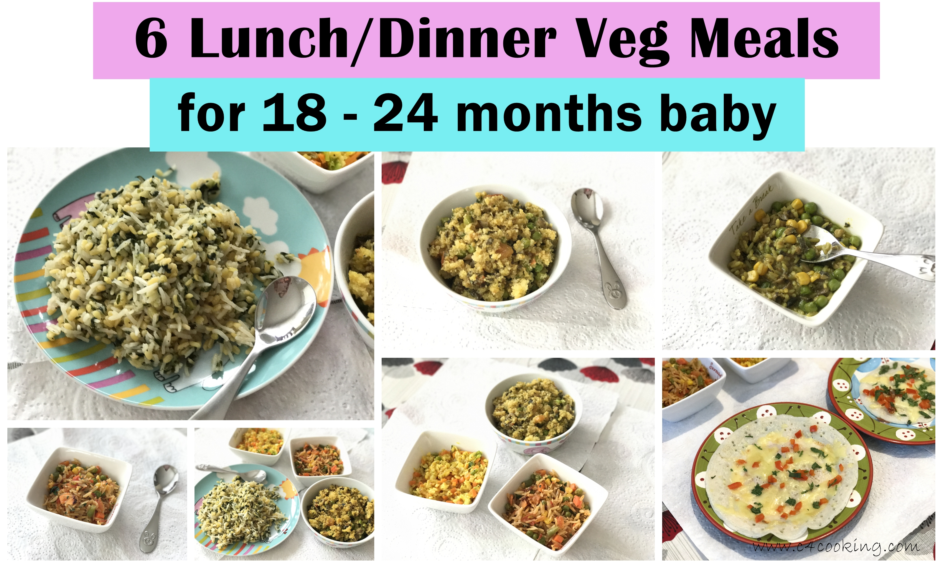Veg Lunch/Dinner meals for 18 - 24 months baby