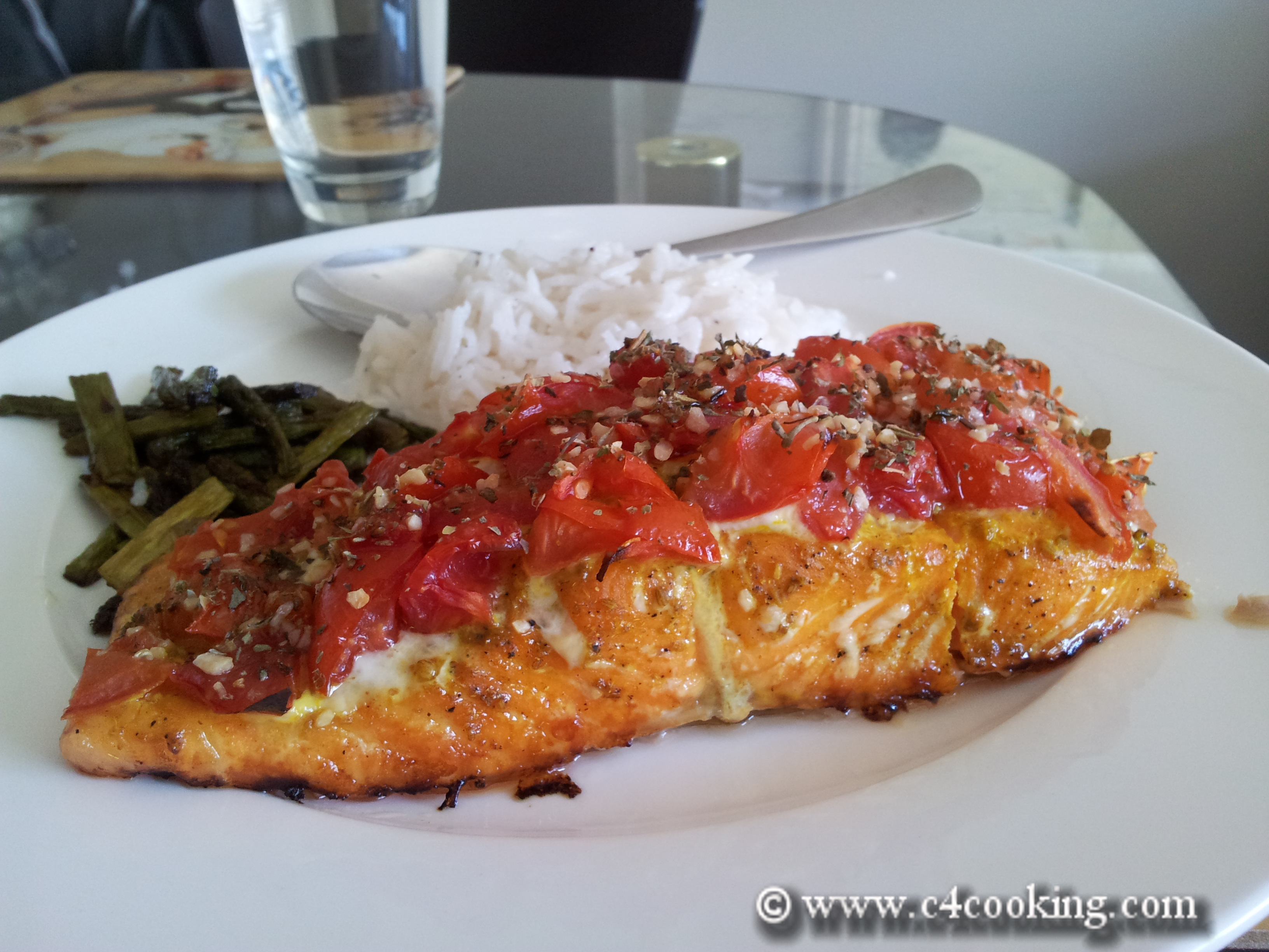 Baked Salmon meal ideas-with rice and asparagus