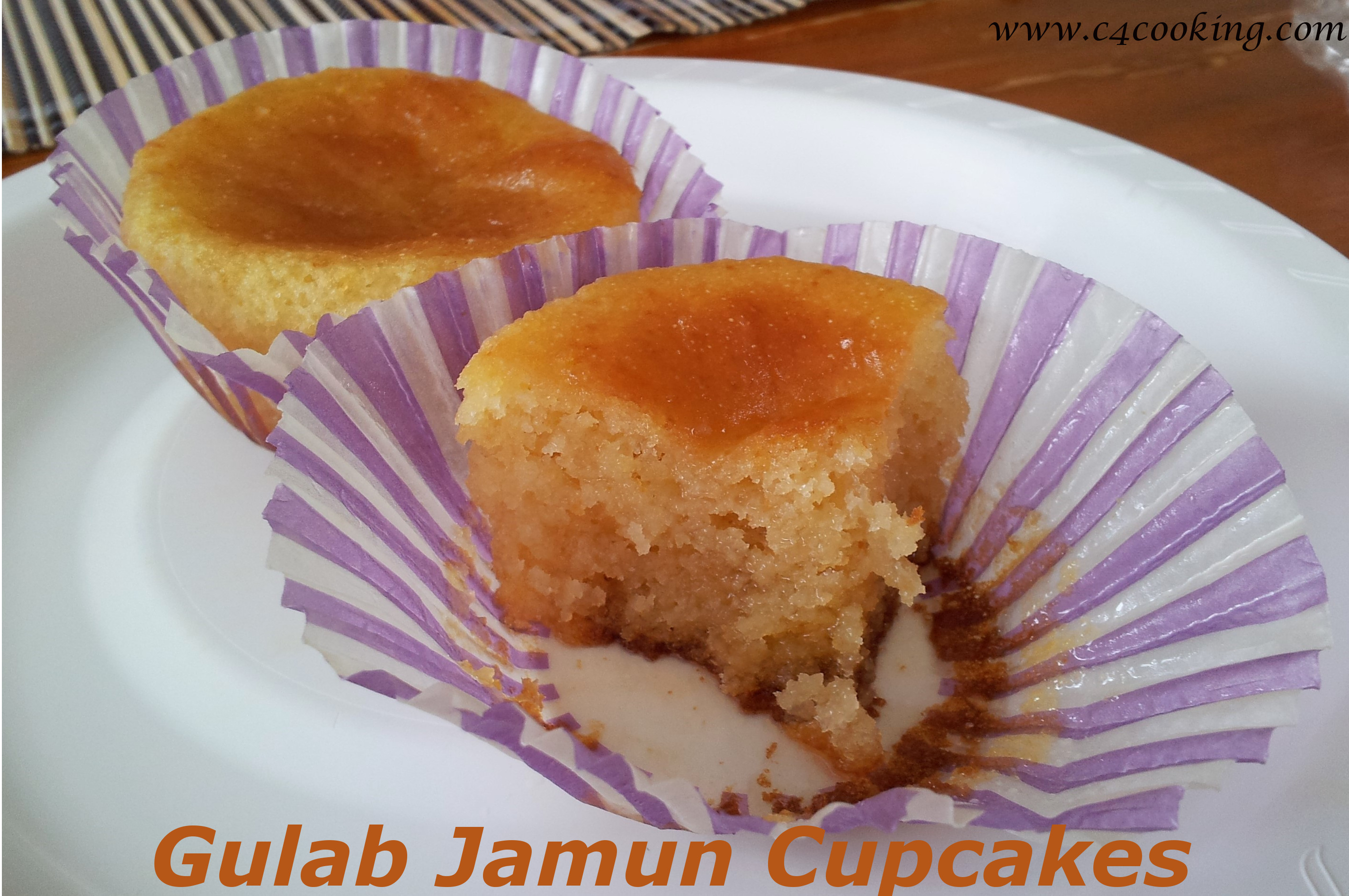 gulab jamun cupcakes recipe, gulab jamun recipe