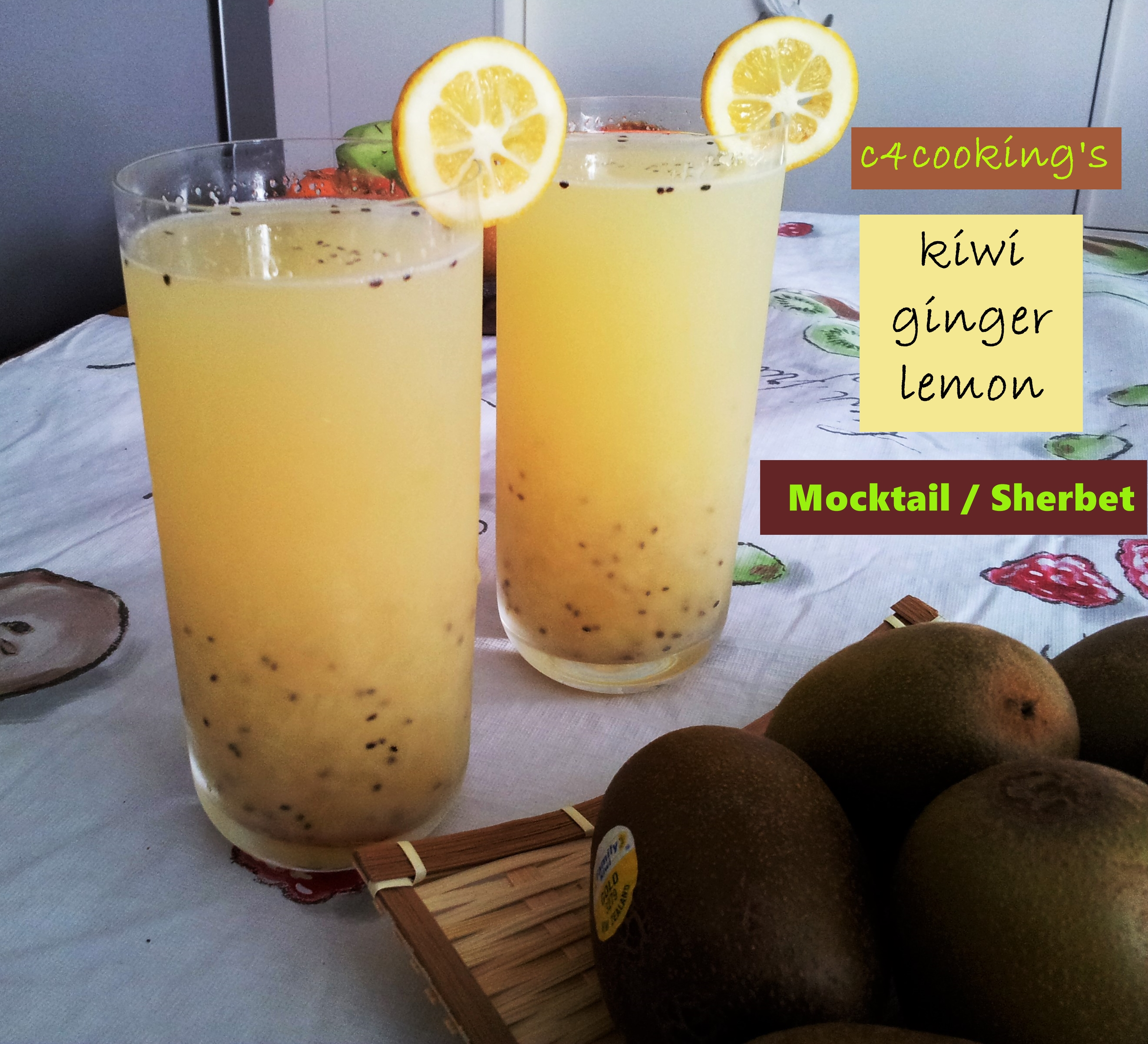 kiwi ginger lemon drink sherbet