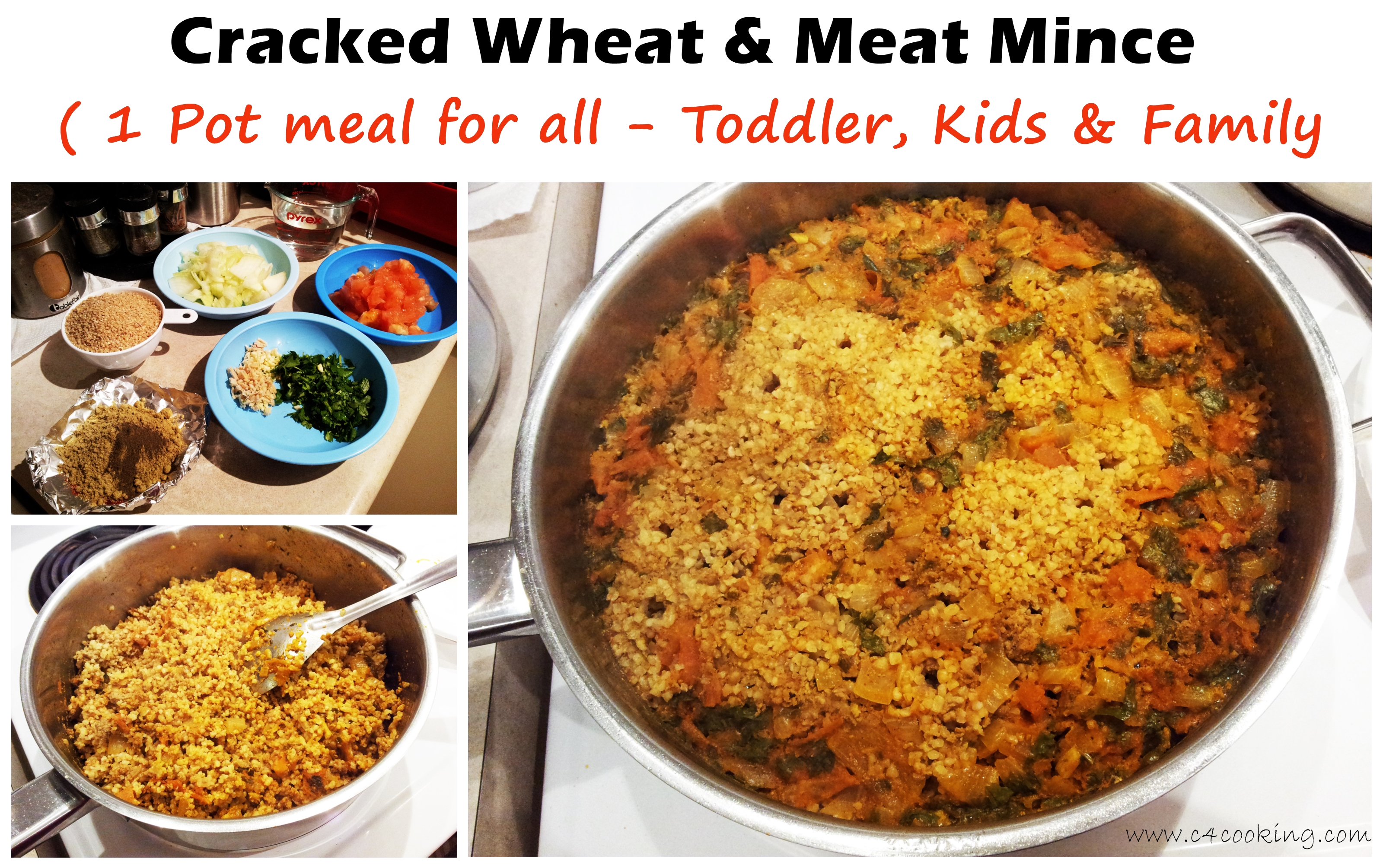 Wheat kheema , cracked wheat meat mince toddler family meal