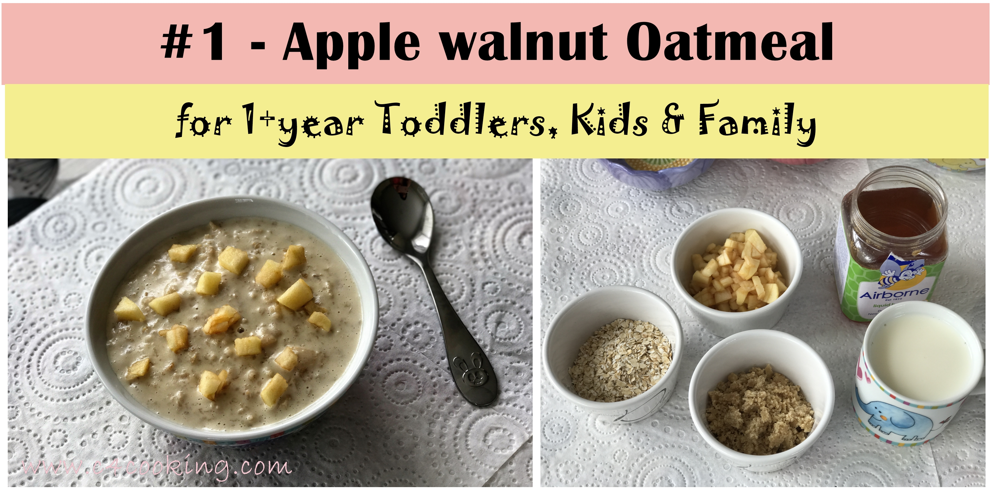 apple walnut oatmeal, toddler oatmeal recipe