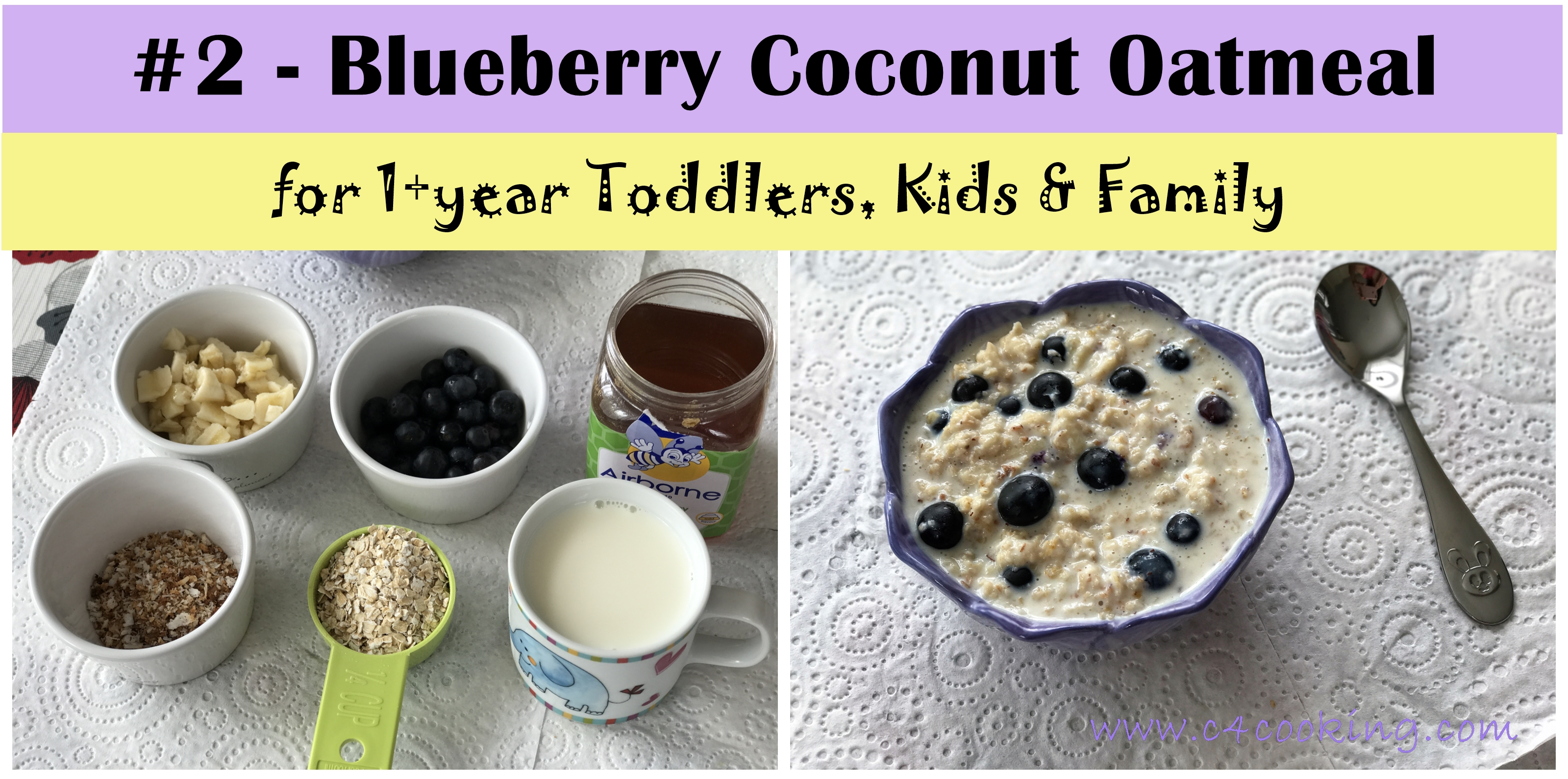 blueberry coconut oatmeal, blueberry banana oatmeal, 1 year toddler oatmeal recipes,