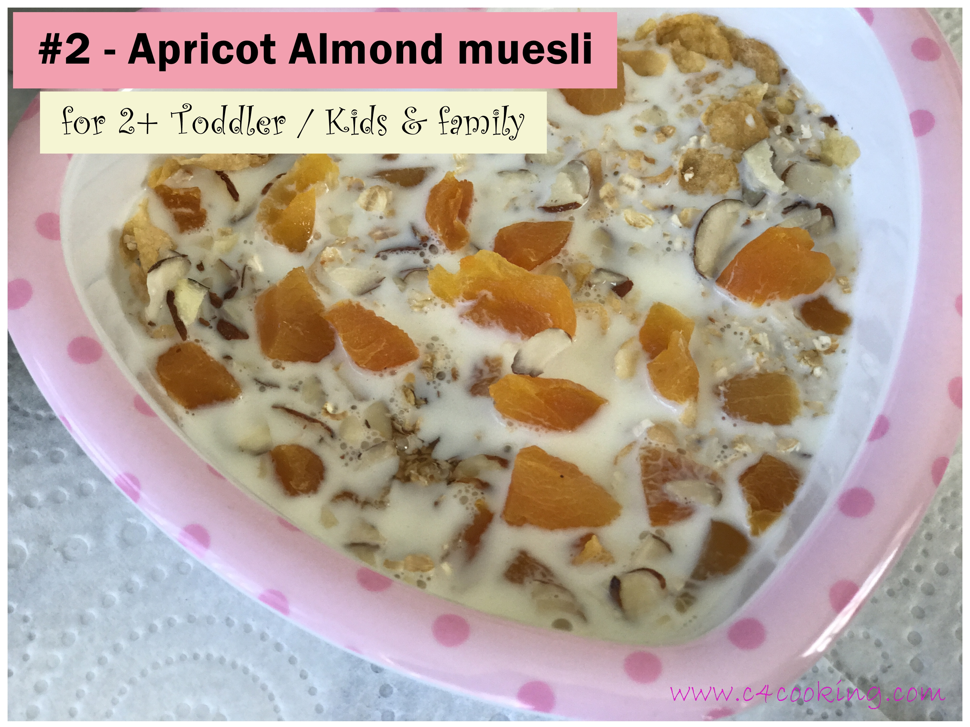 Apricot Almond muesli recipe, kids muesli recipe