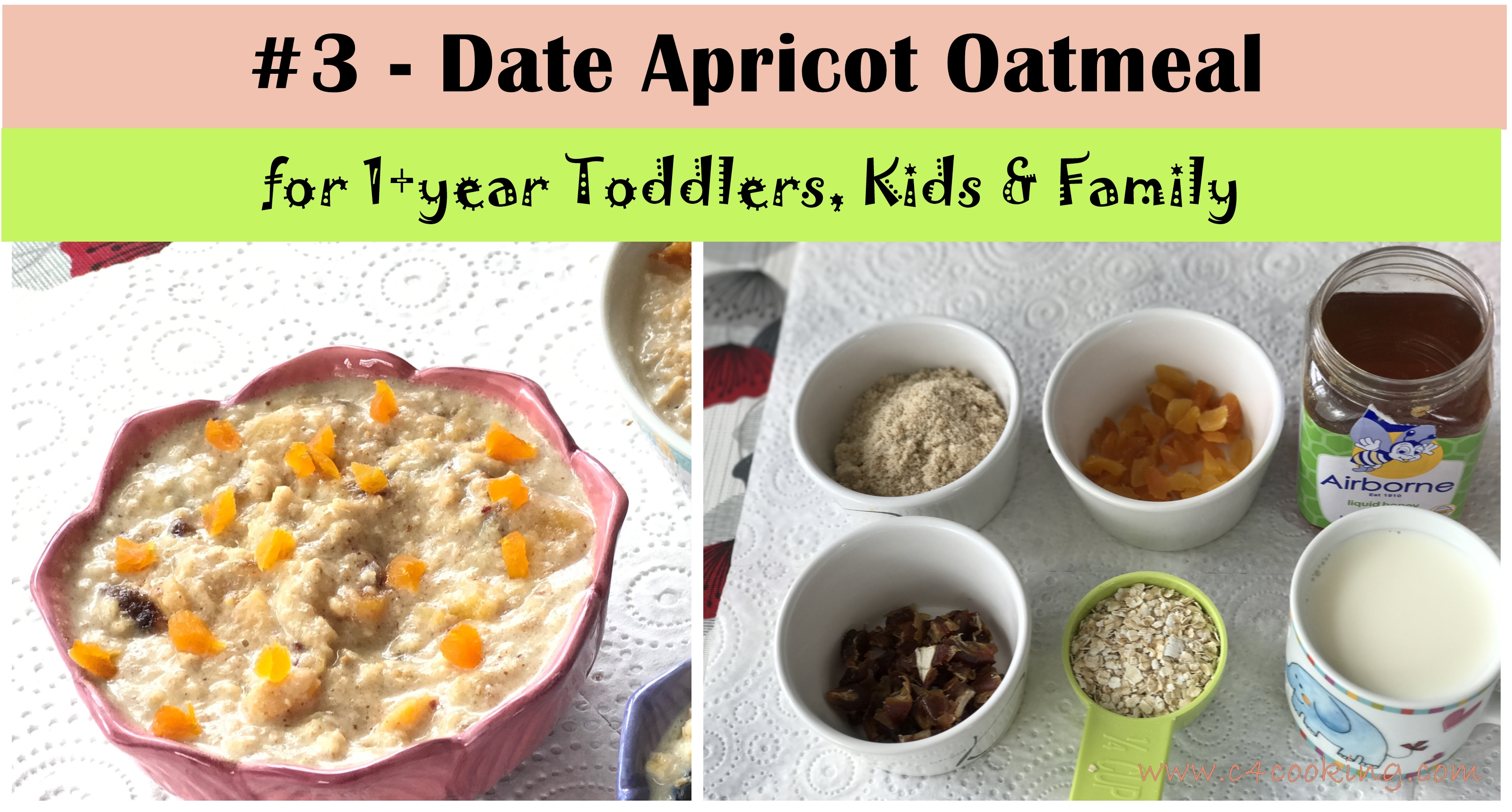date apricot oatmeal, 6 oatmeal recipes, breakfast recipes toddler kids