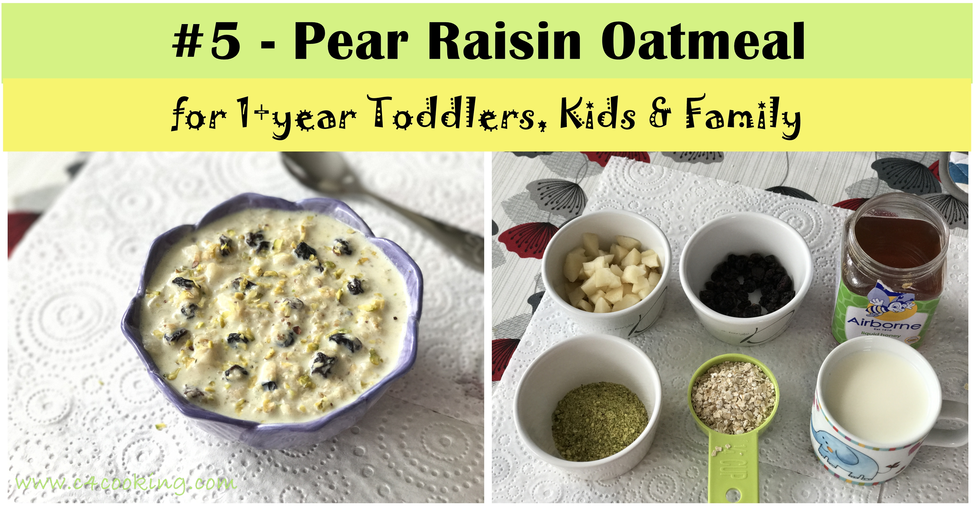 toddler oatmeal recipes, toddler breakfast recipe, Pear raisin oatmeal, kids breakfast recipes