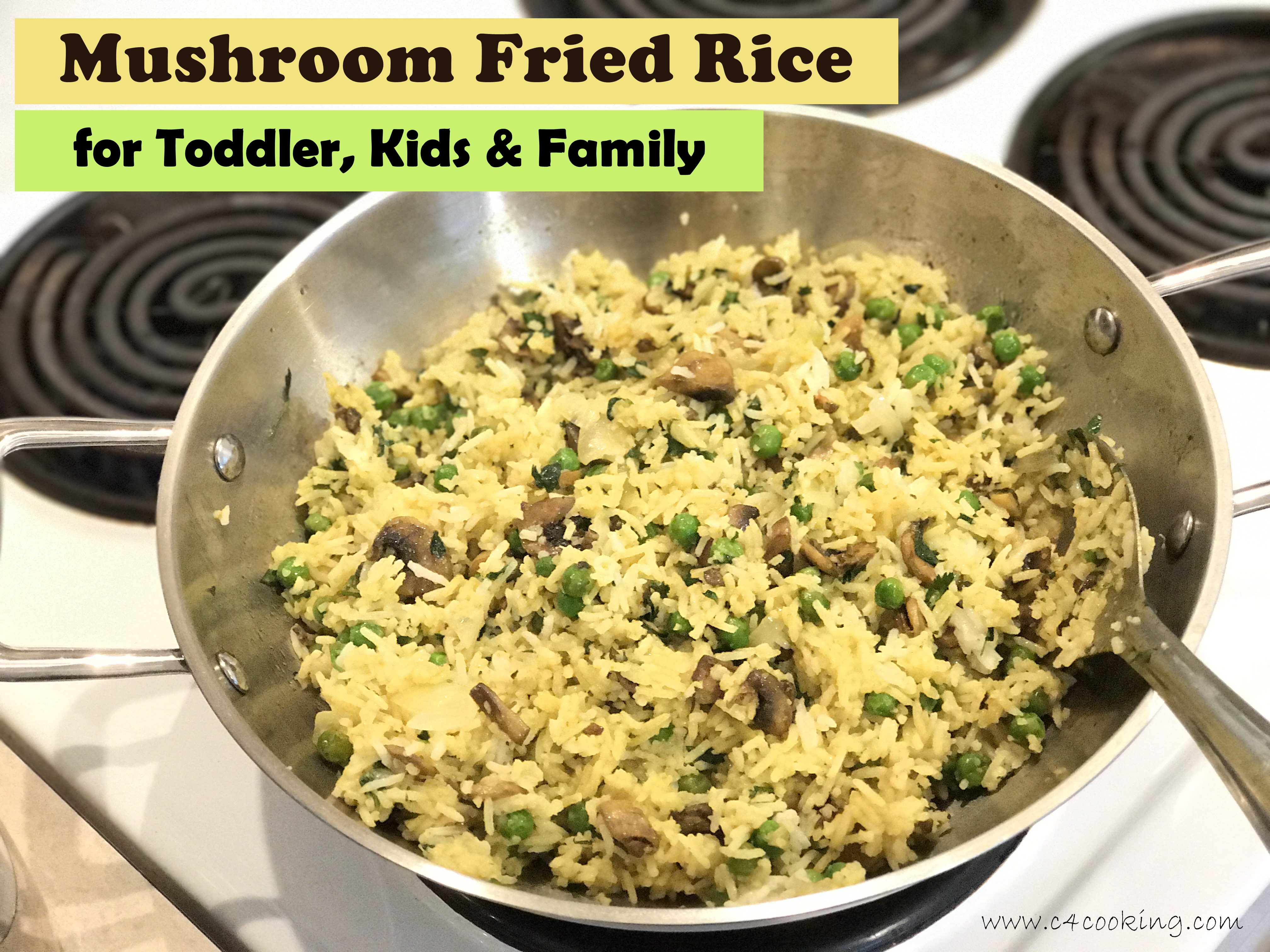 Mushroom fried rice, toddler kids mushroom recipe