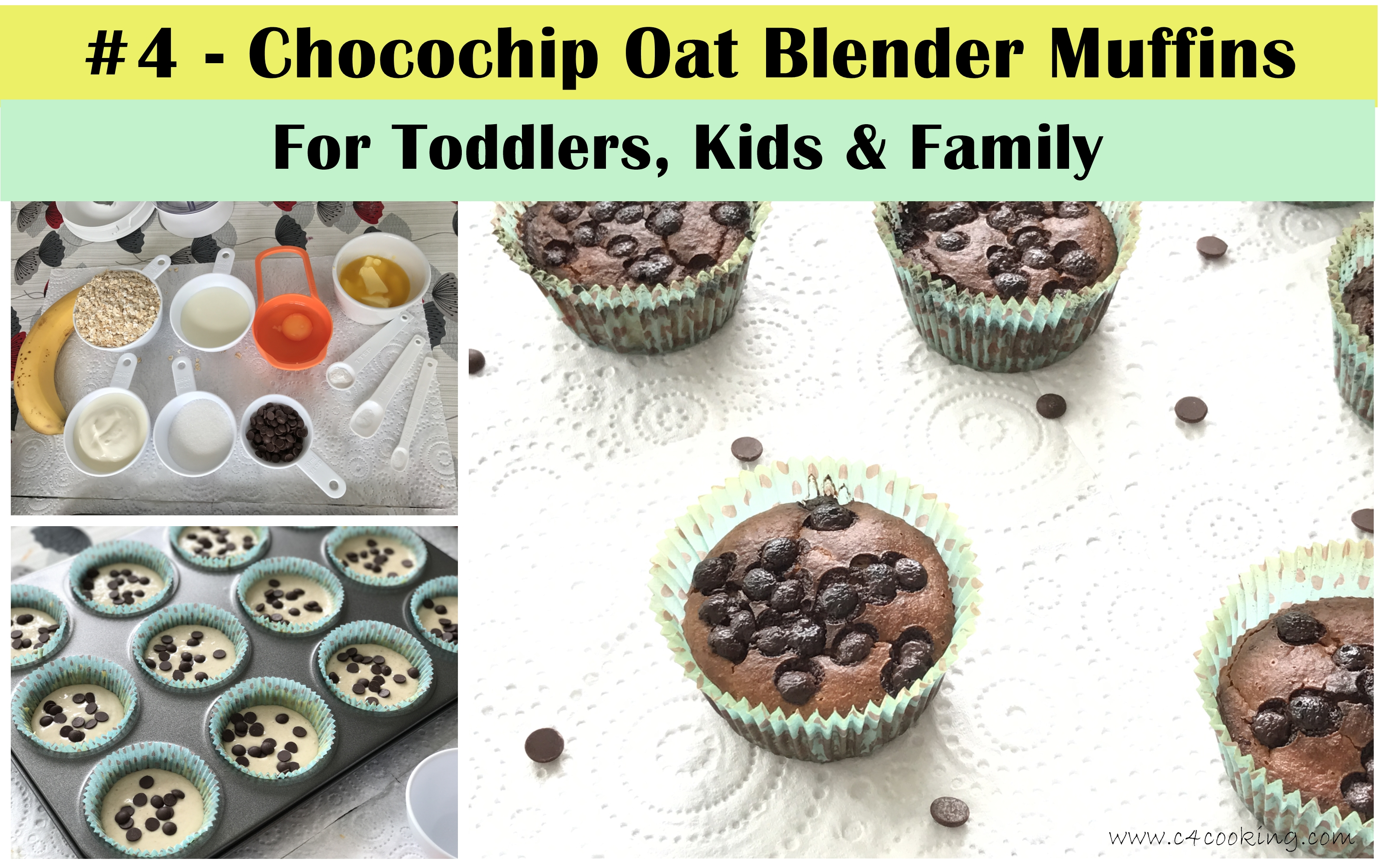 Chocolate chip oat blender muffins