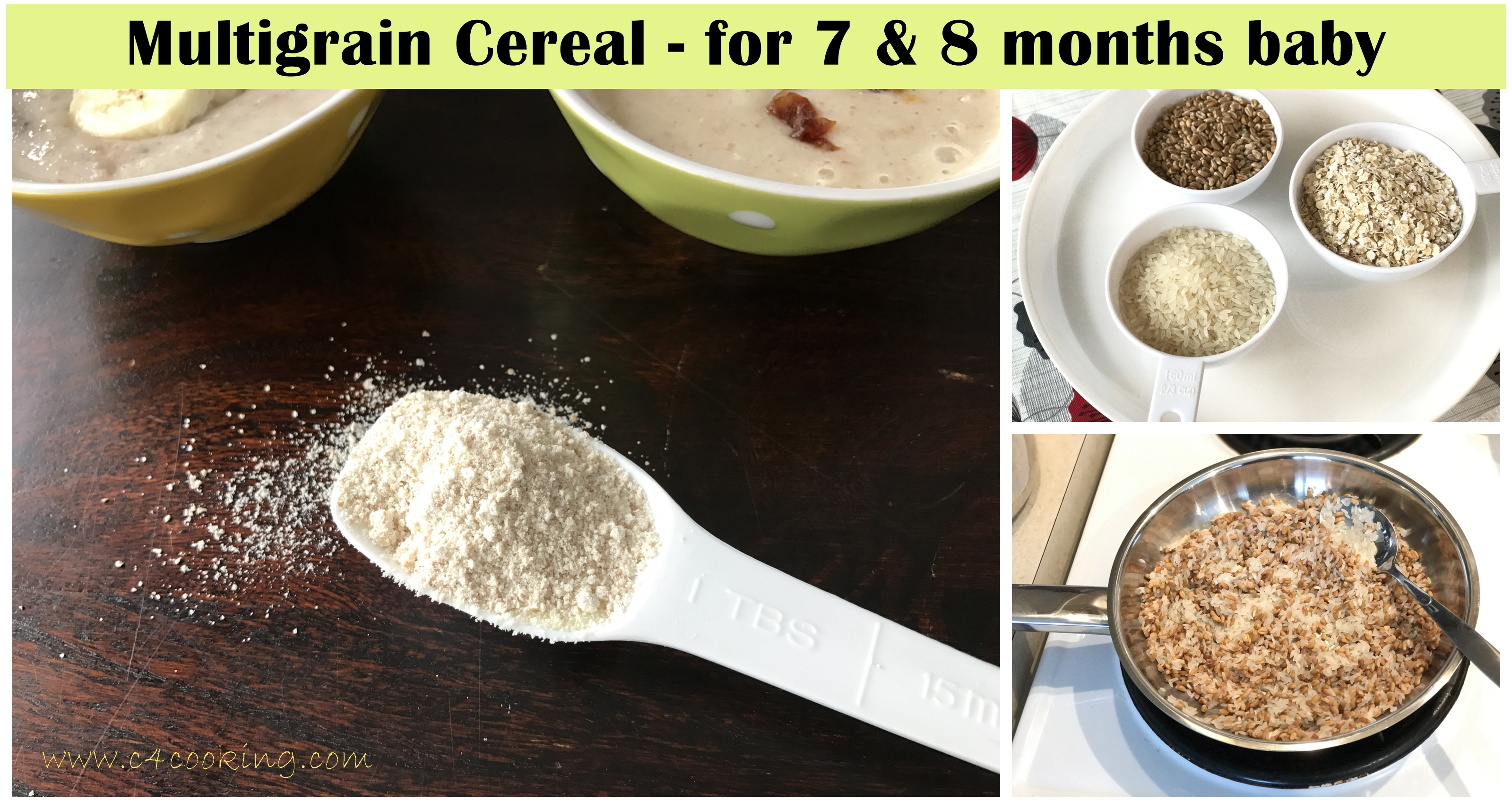 multigrain cereal for 8months baby, breakfast cereal homemade for baby,