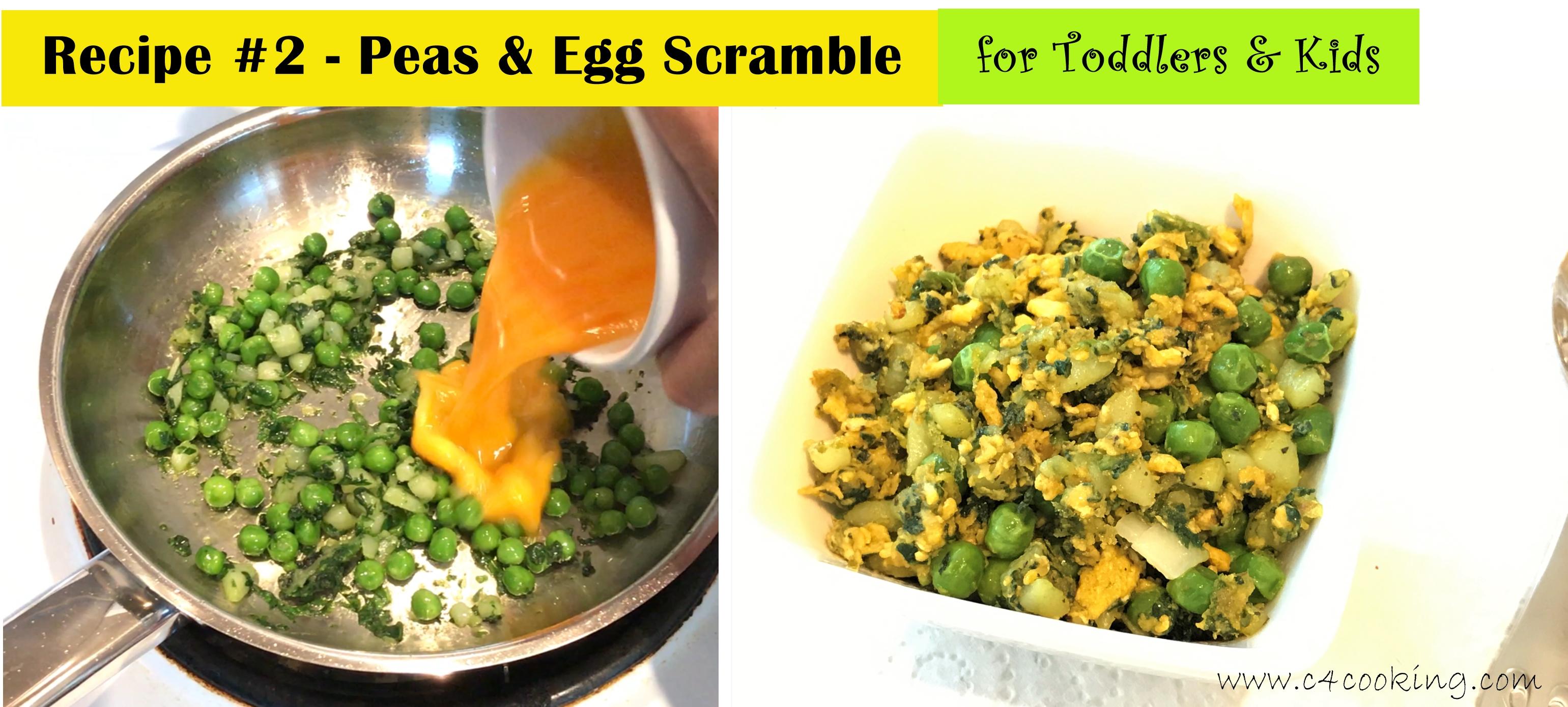peas egg scramble toddler kids recipe