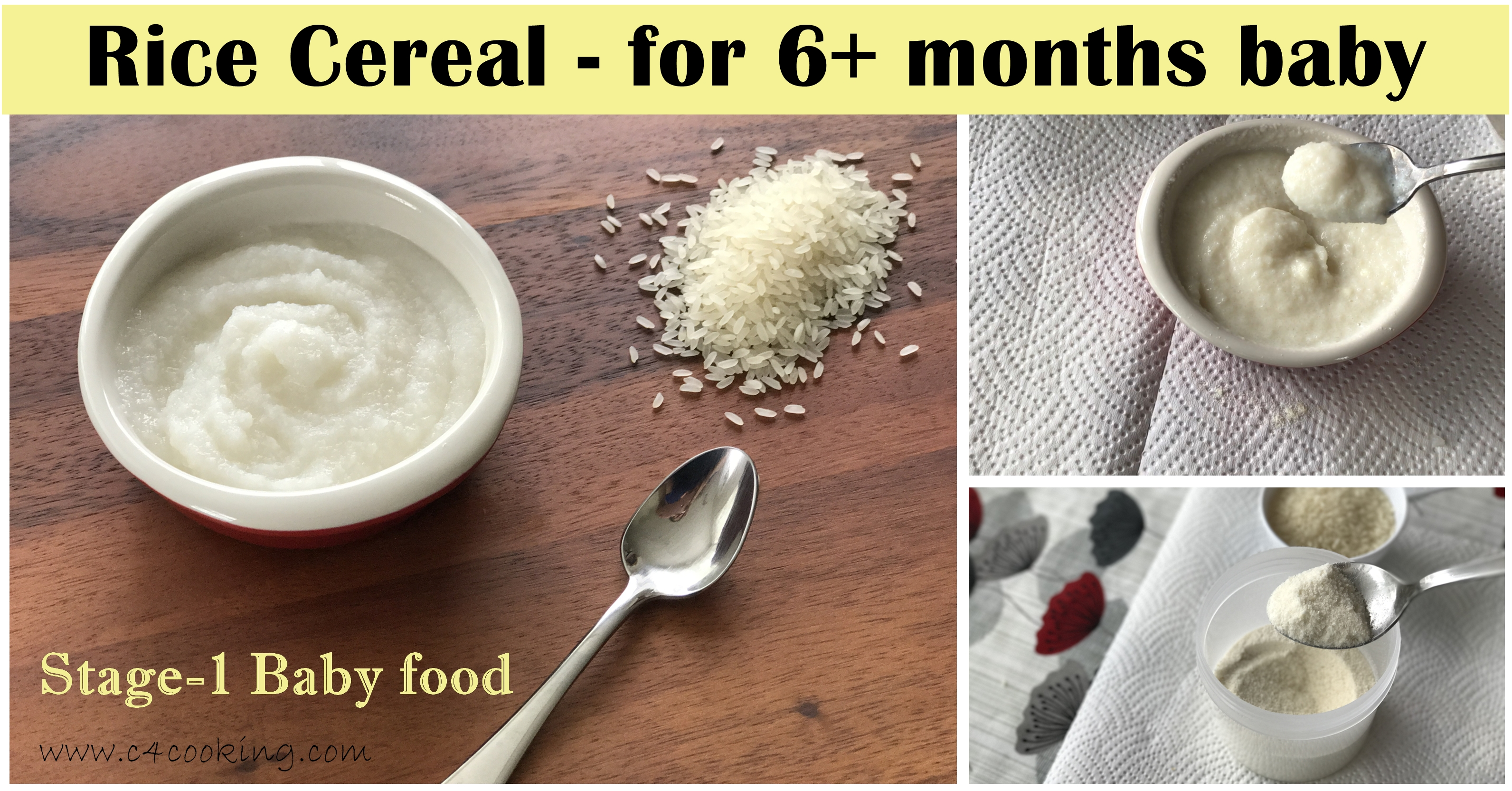 rice cereal recipe, baby cerlac recipe, 6months babyfood,