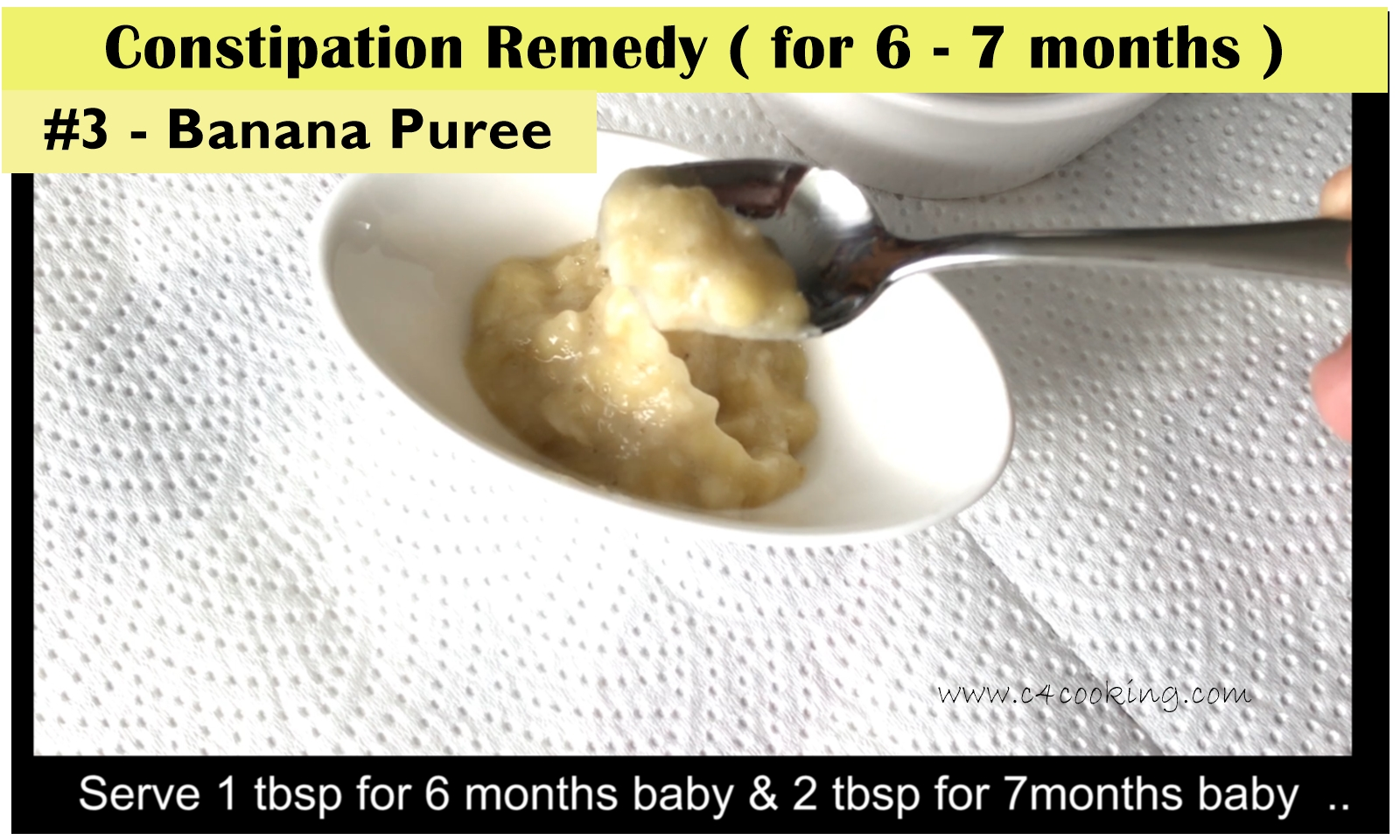 banana puree for baby, constiaption remedy for 8months baby
