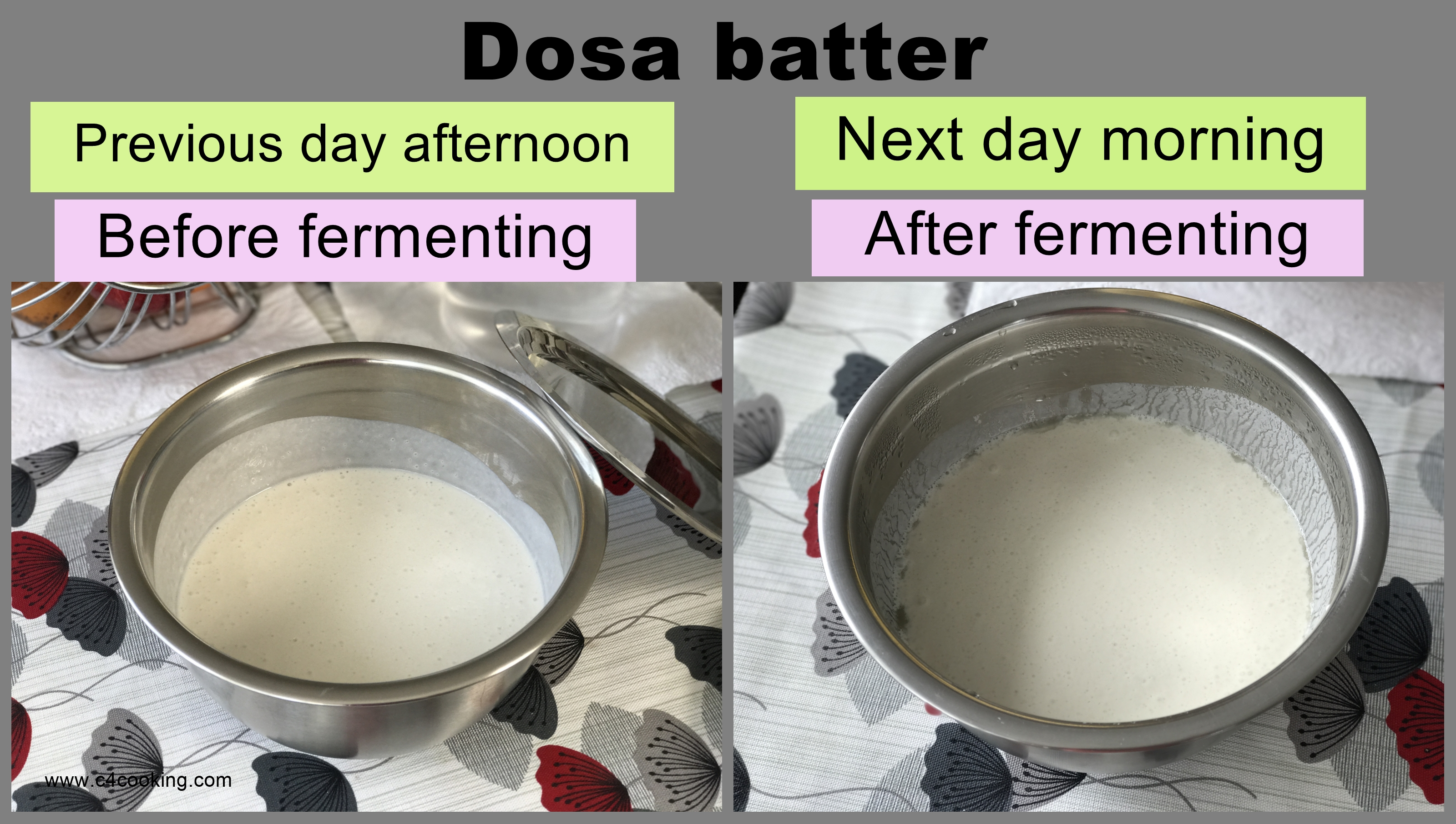 Dosa batter recipe, dosa batter image, dosa batter fermenting time, perfect dosa batter