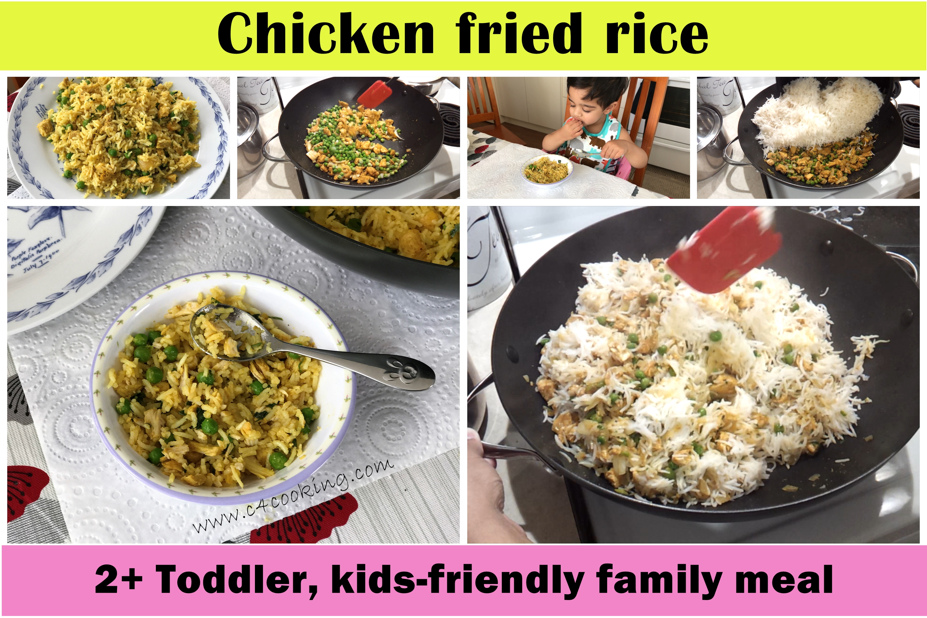 chicken fried rice recipe, chicken pulav recipe, chicken pilaf, kids meal