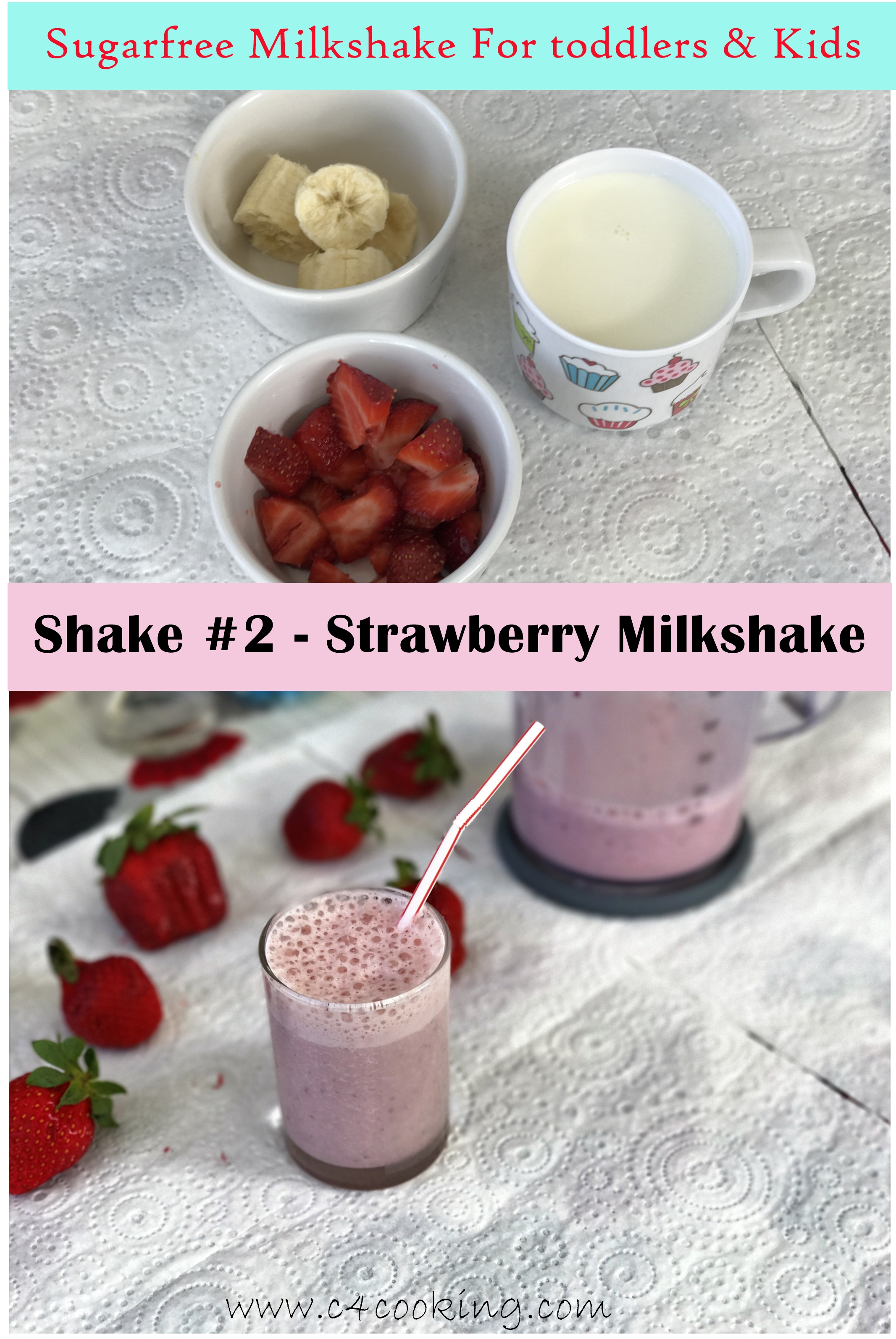strawberry shake for kids, sugarfree shake for toddlers