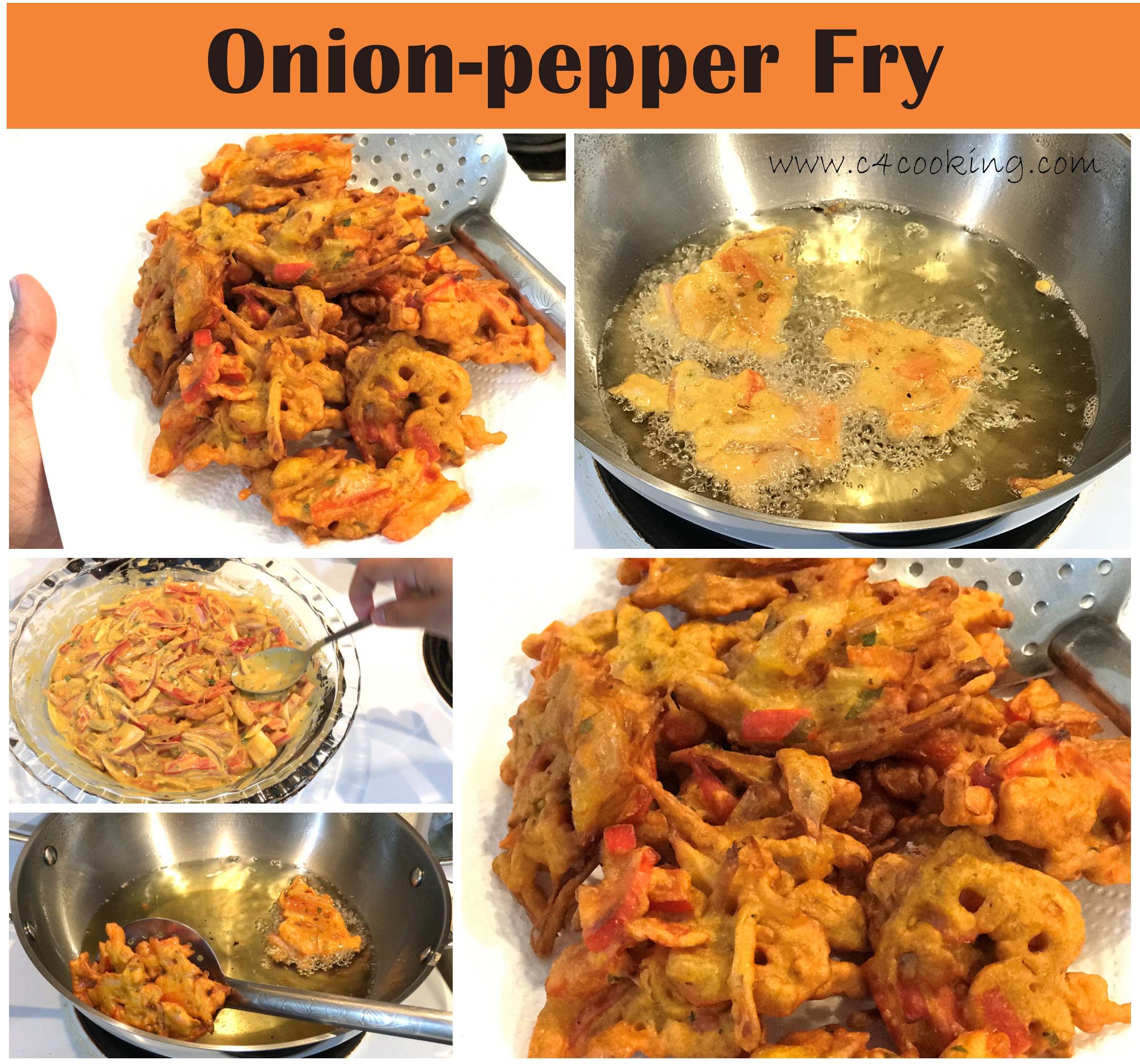 onion-pepper fry, onion bhajji recipe, onion bajji, ulli bajji recipe, c4cooking onion-pepper fry, c4cooking onion-pepper bhajji recipe, tea-time snacks, comfort snacks