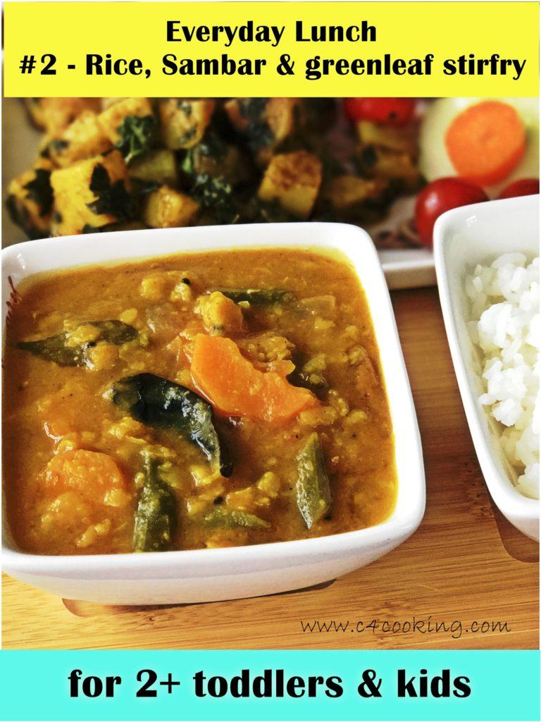 Sambar recipe, Rice and Sambar lunch recipe, Indian lunch recipe, greenleaf stirfry
