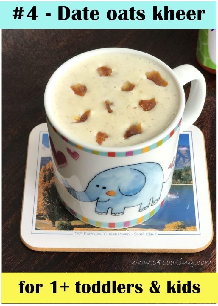 dates oats kheer, kids breakfast kheer recipe