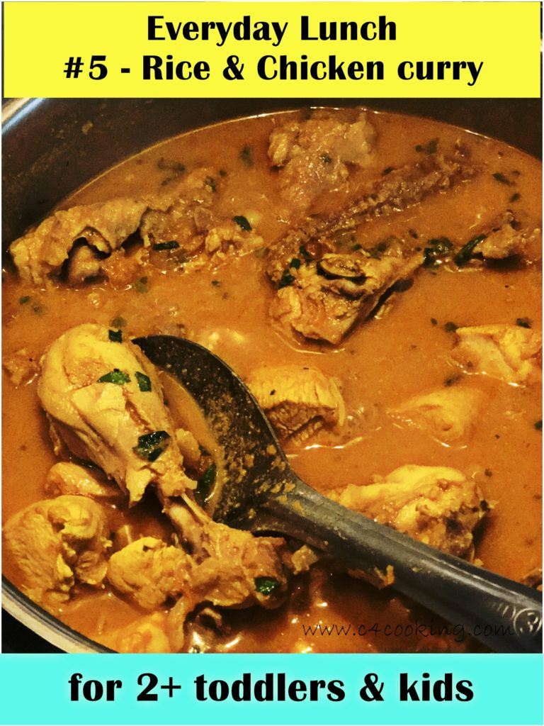 chicken curry recipe, rice and chicken curry recipe, kids indian lunch recipe