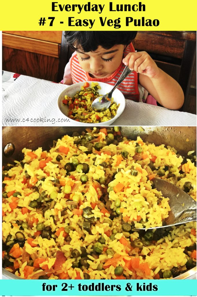 vegetable pulao recipe, indian toddler kids lunch recipe