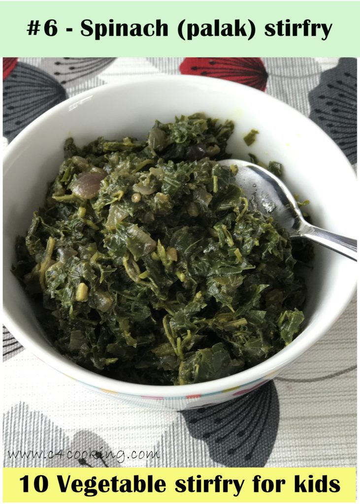 spinach stirfry, palak recipe