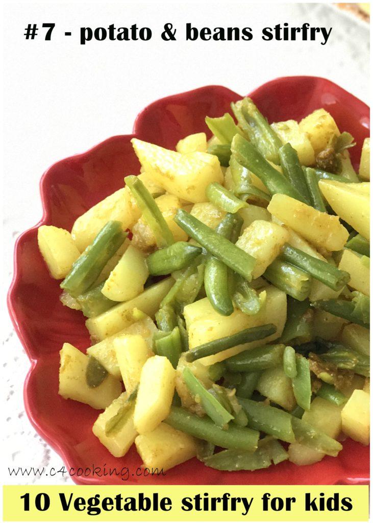 potato beans stirfry, kids recipes, potato recipes