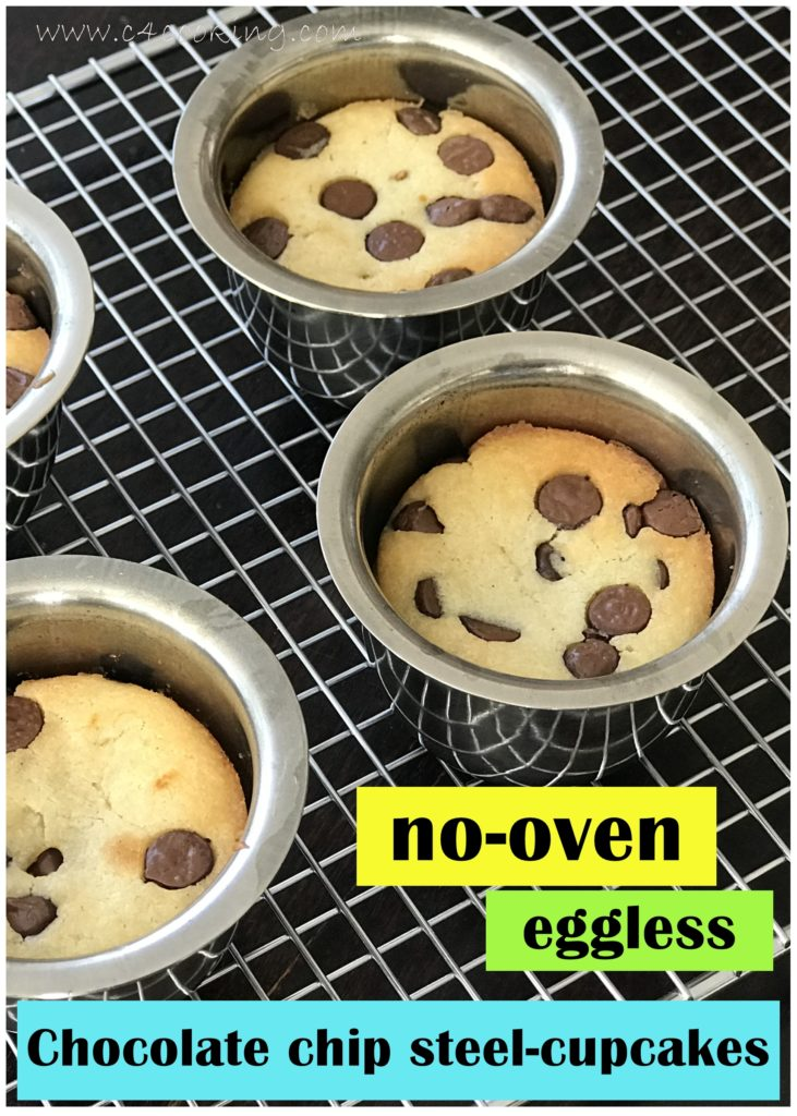 eggless chocolate chip nooven steelcup cake, c4cooking nooven eggless mugcake recipe, eggless mugcakes reicpe, pressure cooker mugcakes steelcupcakes recipe