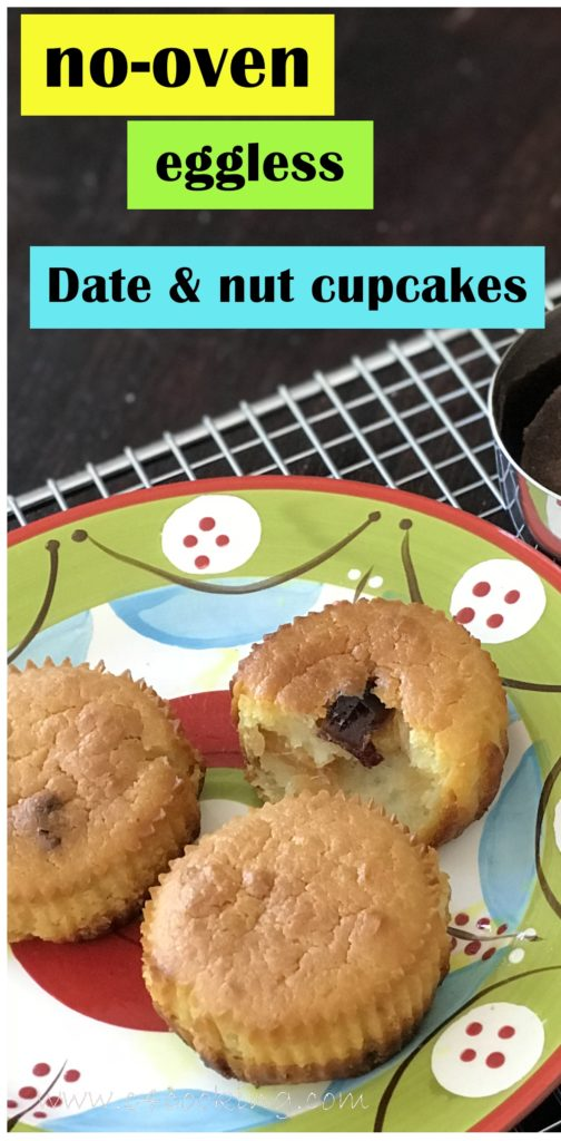 eggless date & nut pressurecooker cake, no oven cake recipe, 5 eggless nooven mugcakes cupcakes recipe,