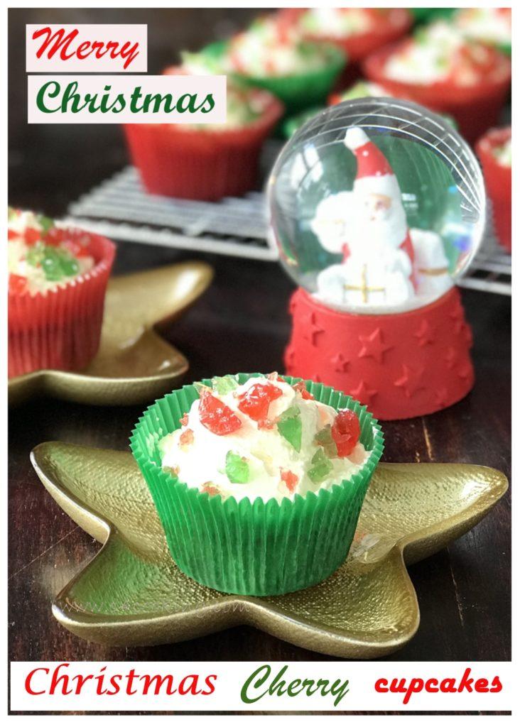 christmas cherry cupcakes recipe, c4cooking christmas cherry cupcake recipe, cherry cupcake recipe, christmas theme recipes