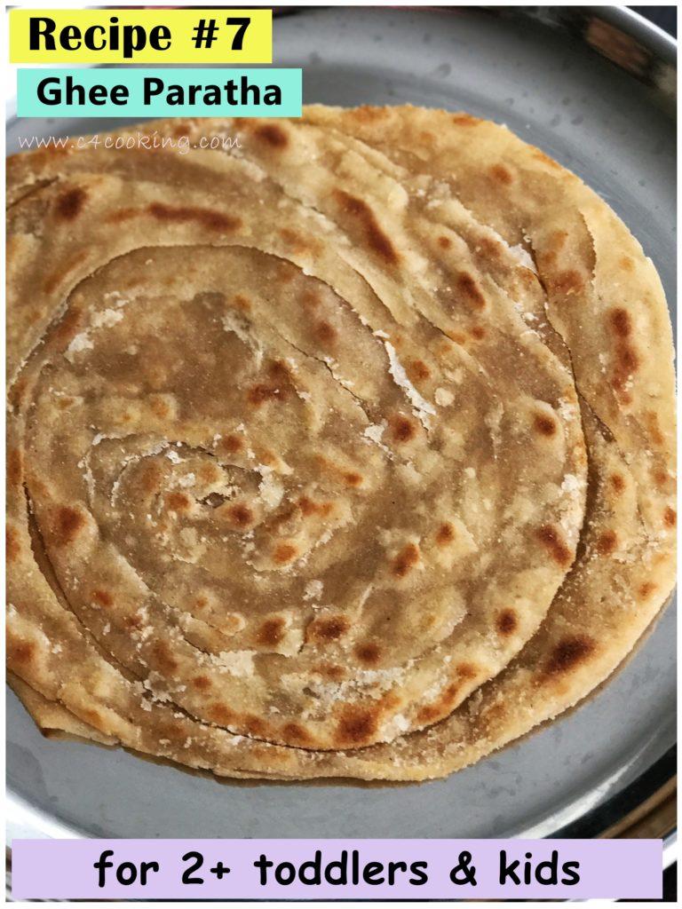 ghee paratha recipe, lachha paratha recipe, indian layer paratha recipe, toddler paratha recipe, c4cooking ghee lachha paratha recipe, lacha paratha