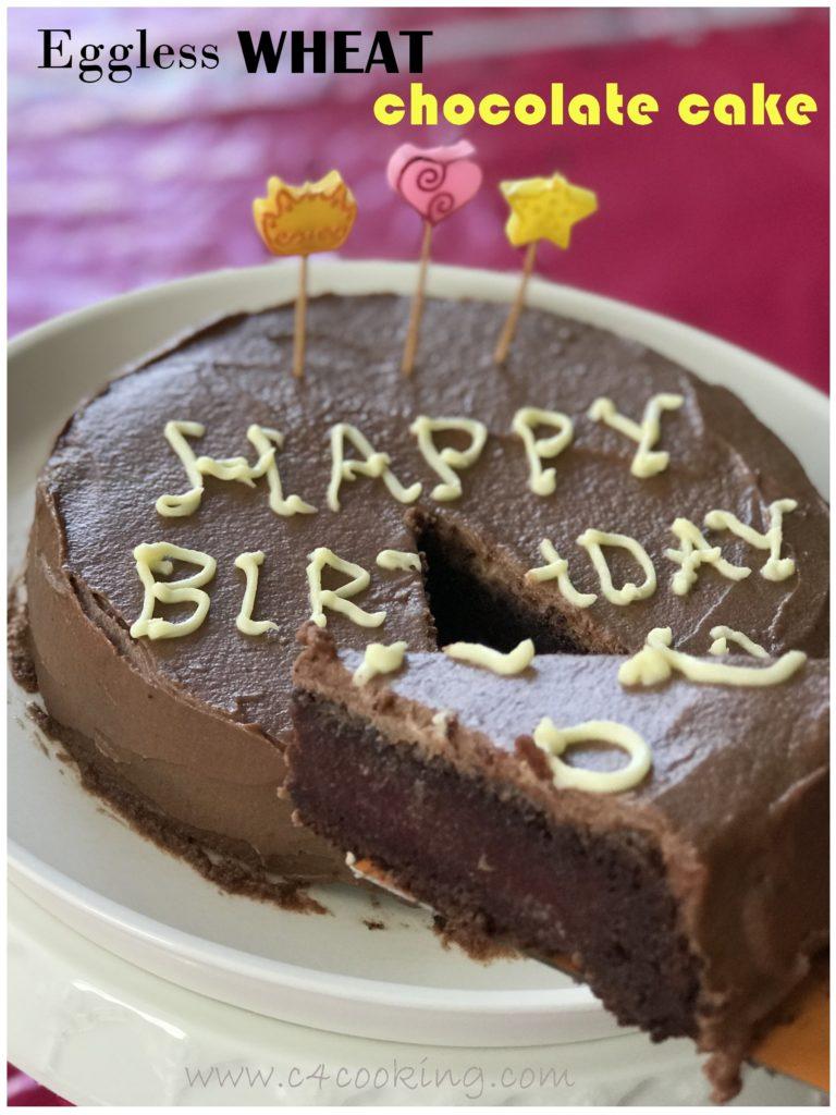 eggless wheat chocolate cake recipe without oven, moist chocolate cake recipe, healthy chocolate birthday cake for 1+ toddlers & kids, wheat cake recipe, nooven chocolate cake recipe, c4cooking chocolate cake recipe